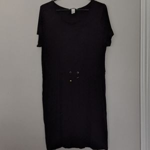 H&M Black Drawstring Midi Dress